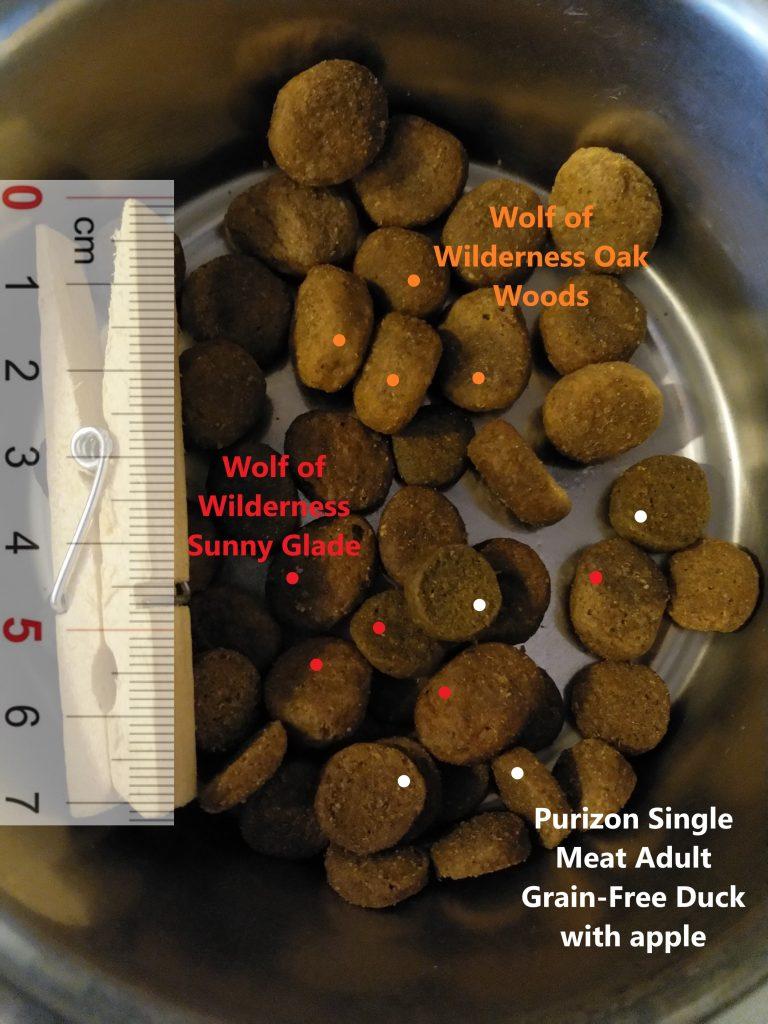Purizon Single meat Duck apple, Wolf of Wilderness Oak Woods, Wolf of Wilderness Sunny Glade